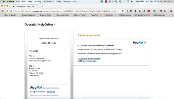 Paypal receipt for a $50 donation from Mourning Glory Publishing to Operation Help or Hush